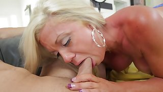 Mommy blows young dick in really hot manners