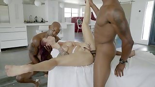 Hot milf anal fucked by black males in extreme trio