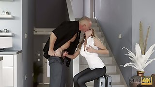 Blond kept woman Summer Brooks is fucked by bald likely elderly sugar daddy