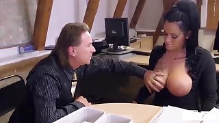 Fat titted German mom secretary eats boss' load in horny lasting office