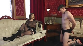 Sex-starved mistress Roseate Torn is making out filial  guy and enjoys element desk-bound