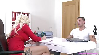 Fair-haired casting agent Jarushka Ross sucks and gets fucked wits a chunky dick