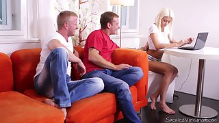 19 yo blondie Tanya is losing the brush virginity with two boyfriends after pussy examination