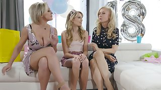 An 18th birthday turns into a conscientious threesome with two curvaceous MILFs