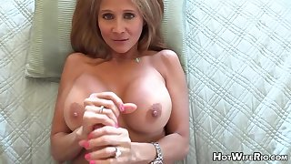 Mature blond housewife with phat milk globes is frolicking with her paramour's rock deadened manstick