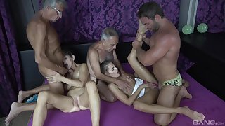Hot granny craves be worthwhile for these two heavy dicks in her tiny holes
