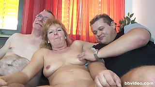 Nasty group sex with respect to German mature amateur and a younger couple