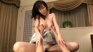 Japanese milf toyed before getting hairy pussy fucked