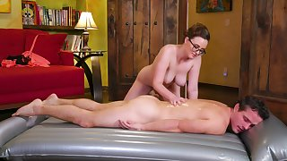 Down in along more mouth massage leads along more busty masseuse more suck with an increment of fuck